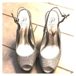 Adrianna Papell shiny silver shoes